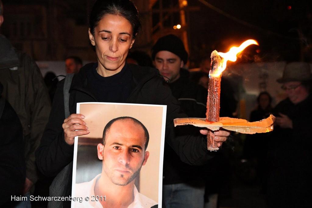 Demonstration against the killing of Mustafa Tamimi in front of the Hakirya in Tel Aviv Haqiria 10/12/2011 | IMG_7993