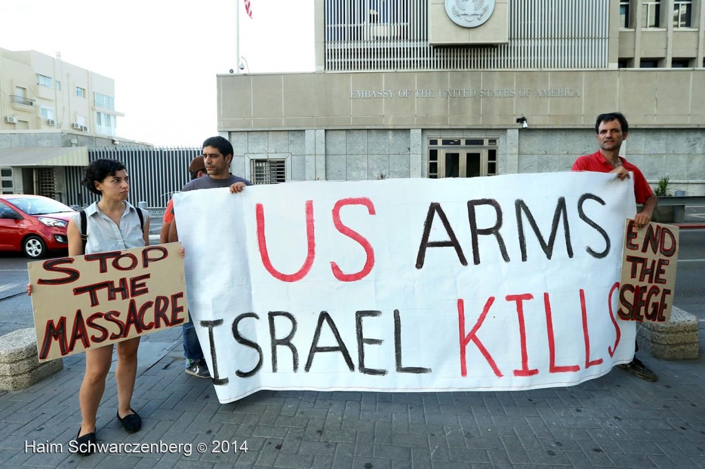 Direct action in front of the US embassy in Tel Aviv | 09/08/2014