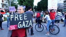 Heeding the call from Gaza for show of solidarity, Israeli activists gathered in Rothchild Boulevard in Tel Aviv in order to express solidarity with the Palestinians in Gaza and call the Israeli government to lift the siege.