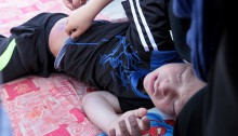 During the weekly Friday demonstration in Nabi Saleh, the Israeli army made extensive use of a new kind of tear gas canister, which has a much longer range and is almost undetectable. This time, the canister hit 10 year old Muhammad and injured him, though no bone was broken. He was taken for medical care and later released.