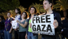 Protest calling for an end to shooting protesters in Gaza, Tel Aviv