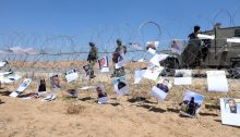 In Solidarity with the Gaza Protests: Israeli Activists hung posters of Slain Palestinian Protesters on the Gaza Fence